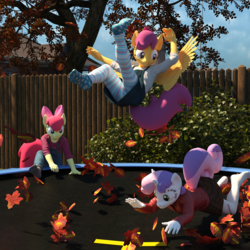 Size: 2000x2000 | Tagged: safe, artist:tahublade7, apple bloom, scootaloo, sweetie belle, anthro, earth pony, pegasus, plantigrade anthro, unicorn, 3d, barefoot, bouncing, clothes, cute, cutie mark crusaders, daz studio, feet, grin, high res, leaf, leaves, missing shoes, open mouth, overalls, pantyhose, skirt, skirt lift, smiling, socks, spread wings, striped pantyhose, tights, trampoline, tree, wings