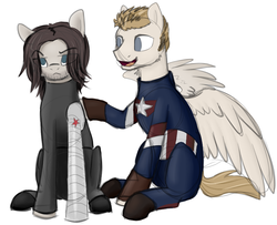 Size: 934x757 | Tagged: safe, artist:stormer, earth pony, pegasus, pony, captain america, male, open mouth, ponified, simple background, sketch, stallion, white background, winter soldier