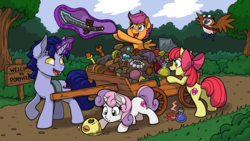 Size: 4800x2700 | Tagged: apple bloom, artist:latecustomer, bird, cart, commission, cutie mark crusaders, female, filly, night elf, oc, pepe (warcraft), pony, potion, safe, scootaloo, smiling, sweetie belle, sword, treasure, unicorn, wallpaper, warcraft, weapon, world of warcraft