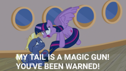 Size: 1280x720 | Tagged: bruised, crying, dialogue, edit, edited screencap, injured, meme, once upon a zeppelin, safe, screencap, spoiler:s07e22, star tracker, tail, tail gun, twilight sparkle, yelling