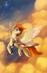 Size: 2000x3105 | Tagged: safe, artist:1jaz, oc, oc only, oc:sacred heart, pegasus, pony, clothes, cloud, colored wings, colored wingtips, commission, doctor, ear piercing, earring, flying, jewelry, male, piercing, red cross, sky, solo, stallion, windswept mane