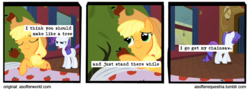 Size: 720x261 | Tagged: safe, artist:asofterequestria, edited screencap, screencap, applejack, bloomberg, rarity, earth pony, pony, unicorn, comic:a softer equestria, over a barrel, a softer world, apple tree, comic, duo, female, hug, implied violence, mare, screencap comic, train, tree