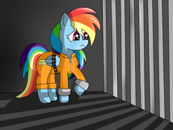 Size: 640x480   Tagged: safe, artist:stepcorbin, rainbow dash, bars, bound wings, cell, chains, clothes, cuffs, female, jail, prison, prison outfit, prisoner, prisoner rd, sad, shackles, solo