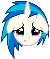 Size: 3502x4115   Tagged: safe, artist:namelesshero2222, dj pon-3, vinyl scratch, pony, unicorn, bust, crying, female, floppy ears, high res, horn, looking at you, mare, portrait, sad, simple background, solo, teary eyes, transparent background, vector