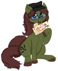 Size: 2656x3272 | Tagged: safe, artist:kayosdrive, fluttershy, oc, oc only, oc:kay, earth pony, pony, 2018 community collab, derpibooru community collaboration, cutie mark, flower, glasses, hat, jewelry, key, looking at you, male, plushie, sign, simple background, sitting, smiling, solo, transparent background, unshorn fetlocks