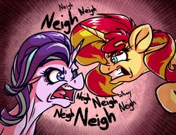 Size: 1024x788   Tagged: safe, artist:witchtaunter, starlight glimmer, sunset shimmer, pony, unicorn, angry, bust, duo, female, horse noises, horses doing horse things, looking at each other, mare, neigh, open mouth, out of character, rageset shimmer, that pony sure have anger issues