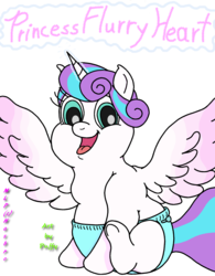 Size: 1683x2156 | Tagged: safe, artist:puffydearlysmith, princess flurry heart, alicorn, pony, baby, baby pony, chubby, diaper, fat, female, filly, foal, happy, magic, open mouth, princess flabby heart, smiling, spread wings, wings