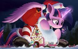 Size: 3000x1867 | Tagged: safe, artist:ncmares, lyra heartstrings, spike, starlight glimmer, twilight sparkle, alicorn, dragon, pony, book, christmas, clothes, costume, female, giant pony, giantess, glowing horn, hat, holiday, house, levitation, macro, magic, mare, megalight sparkle, night, present, reading, santa costume, santa hat, snow, snowman, telekinesis, twilight sparkle (alicorn), unamused, ushanka, wallpaper
