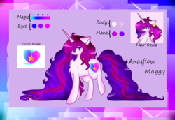 Size: 1024x704 | Tagged: artist:anasflow, female, impossibly long hair, impossibly long tail, long mane, long tail, mare, oc, oc:anasflow maggy, oc only, reference sheet, safe, solo, unicorn