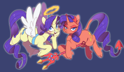 Size: 2110x1228 | Tagged: angel, angel rarity, artist:xenon, blue background, blushing, cloven hooves, devil rarity, duo, duo female, ear fluff, female, floating, flying, halo, haylo, hoof hold, leonine tail, looking at you, mare, open mouth, pony, rarity, safe, shoulder angel, shoulder devil, simple background, smiling, spread wings, the saddle row review, trident, unshorn fetlocks, wallpaper, wings
