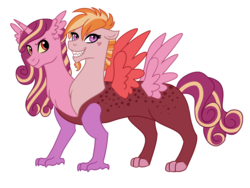 Size: 1024x770 | Tagged: artist:cascayd, draconequus, draconequus oc, interspecies offspring, multiple heads, oc, oc only, offspring, parent:discord, parent:princess cadance, parents:discodance, safe, solo, two heads, two heads are better then one