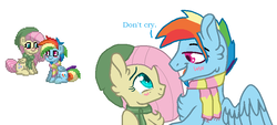 Size: 820x369 | Tagged: artist:zoeytrent113, chest fluff, clothes, crying, female, flutterblitz, flutterdash, fluttershy, half r63 shipping, hat, looking at each other, male, pegasus, pony, pony town, rainbow blitz, rainbow dash, rule 63, safe, scarf, tears of joy, wings