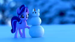 Size: 2560x1440 | Tagged: safe, artist:galawaille, starlight glimmer, pony, unicorn, 3d, blender, carrot, cute, female, food, glimmerbetes, looking at you, mare, outdoors, smiling, snow, snowman, solo