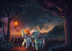 Size: 2620x1861 | Tagged: safe, artist:atlas-66, fleetfoot, rainbow dash, firefly (insect), pegasus, pony, cloud, commission, cute, cutie mark necklace, dark, eye contact, female, fire, fleetdash, flower, grass, grass field, jewelry, lamp, lantern, leaves, leg fluff, lesbian, lidded eyes, looking at each other, mare, necklace, night, path, pathway, pendant, raised hoof, river, rock, romantic, scenery, scenery porn, shipping, sky, smiling, stars, tree, water, wing fluff