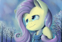Size: 2039x1378   Tagged: safe, artist:pexpy, fluttershy, pegasus, pony, bust, clothes, female, looking away, looking up, mare, portrait, scarf, smiling, snow, snowfall, solo, tree, winter, wintershy