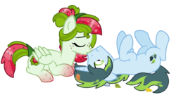 Size: 1579x855 | Tagged: safe, artist:monkfishyadopts, oc, oc only, oc:thatsa releaf, oc:watermelana, base used, female, freckles, gradient, gradient hooves, kissing, leaf, leaves, love, male, oc x oc, on back, pair, prone, shipping, simple background, straight, transparent background, watereleaf