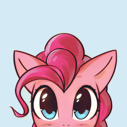 Size: 1000x1000 | Tagged: dead source, safe, artist:mirroredsea, part of a set, pinkie pie, earth pony, pony, blue background, blushing, bust, cute, diapinkes, female, looking at you, mare, peeking, portrait, simple background, solo