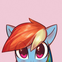 Size: 1000x1000 | Tagged: dead source, safe, artist:mirroredsea, part of a set, rainbow dash, pegasus, pony, blushing, bust, cute, dashabetes, female, looking at you, mare, multicolored hair, peeking, pink background, portrait, simple background, solo
