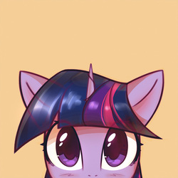 Size: 1000x1000 | Tagged: dead source, safe, artist:mirroredsea, part of a set, twilight sparkle, pony, unicorn, blushing, bust, cute, female, looking at you, mare, peeking, simple background, solo, twiabetes