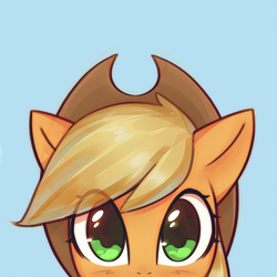 Size: 1000x1000 | Tagged: dead source, safe, artist:mirroredsea, part of a set, applejack, earth pony, pony, applejack's hat, blue background, blushing, bust, cowboy hat, cute, female, hat, jackabetes, looking at you, mare, peeking, simple background, solo, stetson