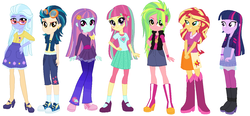 Size: 1292x602 | Tagged: safe, artist:sarahgdo, indigo zap, lemon zest, sour sweet, sugarcoat, sunny flare, sunset shimmer, twilight sparkle, equestria girls, alternate universe, clothes, converse, pantyhose, shadow five, shoes