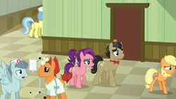 Size: 1280x720 | Tagged: safe, screencap, applejack, doctor high fever, falling star (character), filthy rich, nurse coldheart, nurse snowheart, spoiled rich, earth pony, pegasus, pony, unicorn, where the apple lies, bandaged horn, broken horn, female, hat, iv bag, male, mare, nurse, plot, ponyville hospital, spoiled milk, spoilthy, spread wings, stallion, teenage applejack, teenager, wings, younger