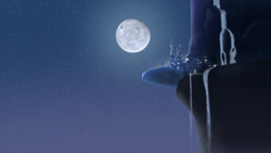Size: 3840x2160 | Tagged: artist:minty root, canterlot, moon, night, no pony, safe, scenery, wallpaper, waterfall