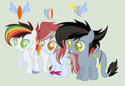 Size: 991x681 | Tagged: safe, oc, oc only, oc:black wing, oc:lightning wing, oc:wind fast, colored pupils, cutie mark background, fangs, female, filly, green background, leonine tail, simple background