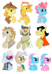 "Size: 2480x3508 | Tagged: safe, artist:oceanbreezebrony, aloe, braeburn, carrot cake, colter sobchak, cup cake, jeff letrotski, lotus blossom, mayor mare, photo finish, theodore donald ""donny"" kerabatsos, pony, donny, female, high res, male, mare, simple background, stallion, sticker, transparent background, walter sobchak"