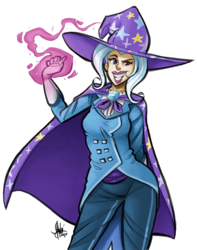 Size: 700x889 | Tagged: safe, artist:theartrix, trixie, human, blue hair, cape, clothes, coat, female, gloves, grin, hat, hate, humanized, magic, pants, smiling, solo, trixie's cape, trixie's hat