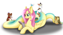 Size: 2621x1452 | Tagged: artist:mailner, cat, fluttershy, lamia, original species, owlowiscious, parasprite, rabbit, safe, simple background, smiling, species swap, transparent background, winona