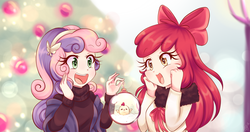 Size: 1900x1000 | Tagged: safe, artist:lucy-tan, apple bloom, sweetie belle, chicken, human, adorabloom, anime, apple bloom's bow, bow, christmas, christmas tree, clothes, cute, diasweetes, duo, female, hair bow, headband, holiday, humanized, long hair, open mouth, ornament, scootachicken, smiling, squishy cheeks, sweater, tree