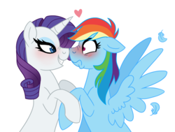 Size: 1024x773 | Tagged: artist:cascayd, bedroom eyes, blushing, boop, feather, female, heart, lesbian, looking at each other, mare, noseboop, nose wrinkle, pegasus, pony, rainbow dash, raridash, rarity, safe, scrunchy face, shipping, shrunken pupils, simple background, smiling, spread wings, unicorn, white background, wingboner, wings