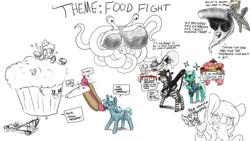 Size: 1920x1080   Tagged: safe, artist:brainflowcrash, artist:cutepencilcase, artist:fluffyxai, artist:strangersaurus, derpy hooves, fluttershy, lyra heartstrings, pinkie pie, twilight sparkle, oc, oc only, alicorn, earth pony, pegasus, pony, unicorn, zebra, colander, drawpile disasters, flying spaghetti monster, food, gun, horn, hot dog, machine gun, meat, muffin, pizza, sausage, twilight sparkle (alicorn), unicorn oc, weapon, zebra oc