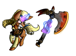 Size: 2700x2000 | Tagged: safe, artist:nekro-led, oc, oc only, oc:frida, pony, unicorn, fallout equestria, armor, axe, braid, chainmail, magic, norse pony, solo, wasteland, weapon