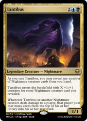 Size: 375x523 | Tagged: safe, artist:rain-gear, edit, editor:mordekaiserhuehuehue, tantabus, do princesses dream of magic sheep, card, debris, epic, fire, magic the gathering, metal as fuck, nightmare, painting, scenery, trading card, trading card edit