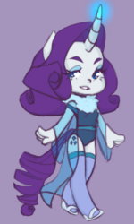 Size: 604x1007 | Tagged: safe, artist:kiriiv, rarity, anthro, chibi, clothes, curved horn, female, glowing horn, leotard, simple background, socks, solo, stockings, thigh highs