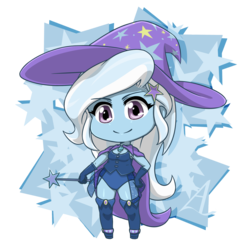 Size: 1200x1200   Tagged: safe, artist:acesrockz, trixie, equestria girls, cape, chibi, clothes, cute, diatrixes, fall formal outfits, female, gloves, hair accessory, hat, leotard, looking at you, magician outfit, smiling, solo, trixie's cape, trixie's hat, wand, wizard hat