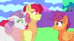 Size: 1280x720   Tagged: safe, artist:hateful-minds, apple bloom, scootaloo, sweetie belle, earth pony, pegasus, pony, unicorn, cheek fluff, chest fluff, colored pupils, cutie mark crusaders, folded wings, frown, open mouth, smiling, trio