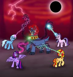 Size: 4652x4888 | Tagged: safe, artist:melspyrose, grogar (g1), starlight glimmer, sunset shimmer, trixie, twilight sparkle, alicorn, pony, unicorn, absurd resolution, cloven hooves, counterparts, dark magic, eclipse, g1, lightning, magic, male, raised hoof, ram, tartarus, twilight sparkle (alicorn), twilight's counterparts