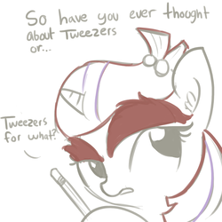 Size: 1080x1080 | Tagged: safe, artist:tjpones, moondancer, dialogue, ear fluff, eyebrows, female, missing accessory, no glasses, open mouth, partial color, pencil, simple background, sketch, solo, white background