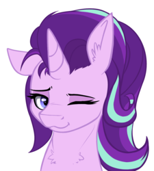 Size: 1134x1259 | Tagged: :3, artist:duop-qoub, chest fluff, cute, ear fluff, floppy ears, fluffy, glimmerbetes, lidded eyes, looking at you, one eye closed, pony, safe, simple background, smiling, solo, starlight glimmer, :t, unicorn, white background, wink