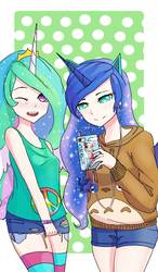 Size: 750x1280   Tagged: safe, artist:161141, princess celestia, princess luna, human, pony, attack on titan, blushing, cellphone, clothes, collosal titan, crown, duo, earbuds, horned humanization, humanized, iphone, jewelry, looking at you, one eye closed, phone, polka dot background, ponified, regalia, royal sisters, shorts, siblings, smartphone, smiling, socks, striped socks, winged humanization, wings, wink