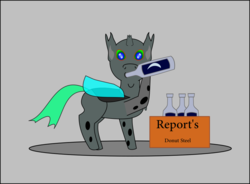 Size: 955x703 | Tagged: safe, artist:planetkiller, derpibooru exclusive, oc, oc only, oc:random image, changeling, derpibooru, alcohol, derpibooru ponified, male, meta, ponified, solo, stealing, this will end in tears and/or death