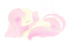 Size: 900x531 | Tagged: artist:dracini, eyes closed, fluttershy, folded wings, name, prone, safe, simple background, solo, white background