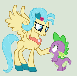 Size: 948x928 | Tagged: artist:3d4d, base used, classical hippogriff, dragon, duo, hippogriff, my little pony: the movie, pegasus, pony, princess skystar, safe, simple background, species swap, spike, that was fast, vector