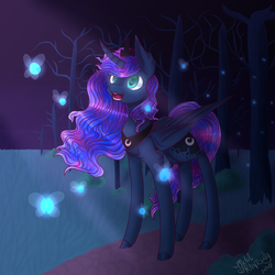 Size: 3850x3850 | Tagged: alicorn, artist:zombiecupcake101, colored pupils, curved horn, dead source, fairy, female, forest, grass field, moonlight, night, open mouth, path, pony, princess luna, safe, scenery, signature, smiling, solo