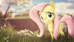 Size: 4000x2250 | Tagged: 3d, artist:redaceofspades, beautiful, building, cute, field, flower, fluttershy, looking at you, mountain, poster, safe, shyabetes, solo, source filmmaker, tree