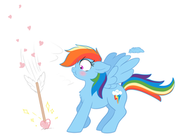Size: 1280x1014 | Tagged: arrow, artist:petea-copine, blushing, cupid, love heart, pegasus, pony, rainbow dash, safe, scrunchy face, solo