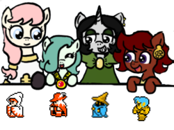 Size: 352x263 | Tagged: safe, artist:ficficponyfic, edit, oc, oc only, oc:emerald jewel, oc:hope blossoms, oc:joyride, oc:ruby rouge, earth pony, pony, unicorn, colt quest, adult, amulet, black mage, bowtie, child, clothes, color, colt, comparison, cute, ear piercing, earring, eyeshadow, female, filly, final fantasy, foal, jewelry, makeup, male, mantle, mare, piercing, ponytail, q&a, red mage, robe, story included, thief, white mage